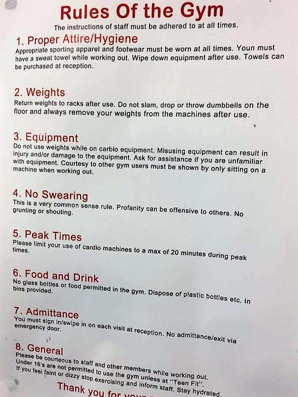 rules of gym